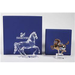 (2) Swarovski Crystal HORSE Figurines