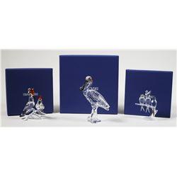(3) Swarovski Crystal Bird Figurines