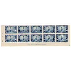 #227 XF-NH LOWER BLOCK OF 10 WITH INSCRIPTION OTTAWA    $1725,00