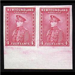 NEWFOUNDLAND #189a-var XF IMPERF BOTTOM MARGIN PAIR