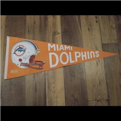 MIAMI DOLPHINS SIGNED FLAG, AUTHENTICITY LETTER & ENVELOP