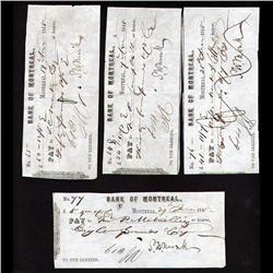 OLD BANK CHECK OF YEAR 1848 & 1849 FRIM THE BANK OF MONTREAL SIGNED BY S.W. MINICK