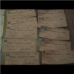 40 OLD BANK CHECK YEAR 1940's TO 50's, STAMPS, CANCEL ETC….