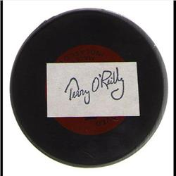 BRUINS BOSTON PUCK WITH TERRY O'REILY PRINTED SIGNATURE