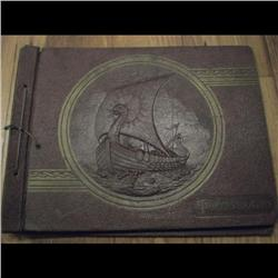 Old Vicking drakar Engrave photograph book to place photo