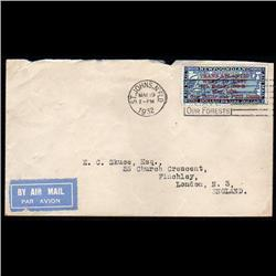 NEWFOUNDLAND #C12i RARE COVER WITH SLANTING SURCHARGE