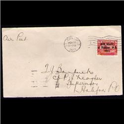 NEWFOUNDLAND #C3f RARE COVER 1.5 mm BETWEEN *AIR* &MAIL