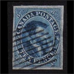 #7a VF-imperf Ten Pence Blue, beautiful Grid Cancel