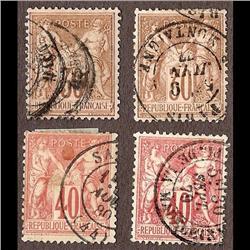 France USED #73 -74 (Yvert #69-69var-70-70var) SON CDS SELECT CHOICE *TYPE 1*  CAT94€