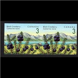 CANADA #1351iv XF-NH IMPERF SCARCE PAIR BLACK CROWNBERR