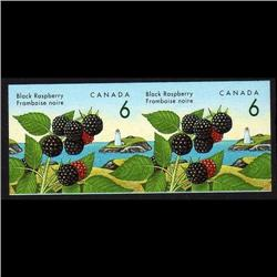 CANADA #1353iii XF-NH IMPERF SCARCE PAIR BLACK RASPBERR