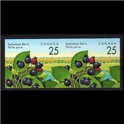 CANADA #1355iv XF-NH IMPERF SCARCE PAIR SASKATOON BERRY