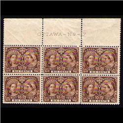 #55 VF NH UPPER PLATE BLOCK JUBILEE No -17 *SCARCE*