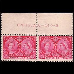 #53 MINT LH UPPER PLATE PAIR OTTAWA No8