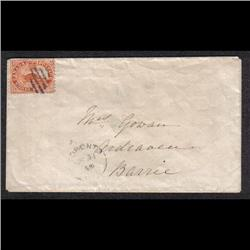 #12 ON COVER FROM TORONTO TO BARRIE MARCH 31, 1859