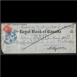 1925 to 1932 OLD BANK CHECK QTT6 -PERFIN ON ONE