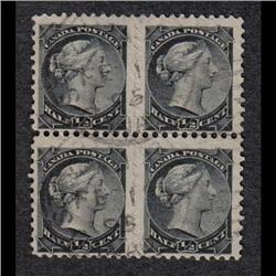 #34b USED BLOCK OF 4 WITH TWO IMPERF HORIZ. PAIR
