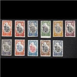 SOMALI COAST 1902-3 IMPER SET VF-NG --SOMALI WARRIORS TALL TYPE GROUP OF 11 IMPERF COLOR TRIAL