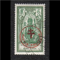 FRENCH INDIA #230F XF-USED OVERPRINTED