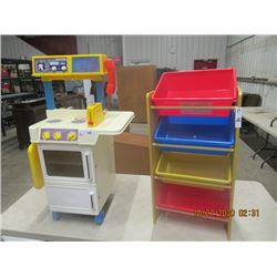 Fisher Price Toy Kitchen & 3 Tier Kids Organizer