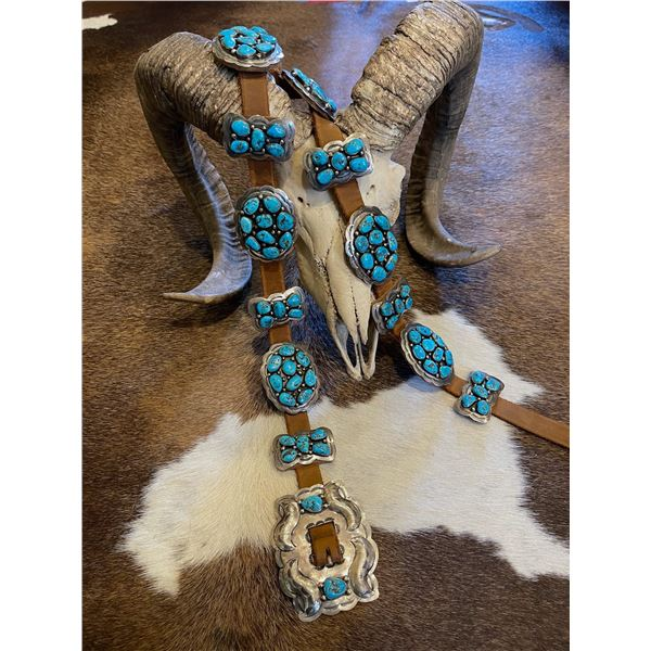 Turquoise Huntress Silver and Concho Belt