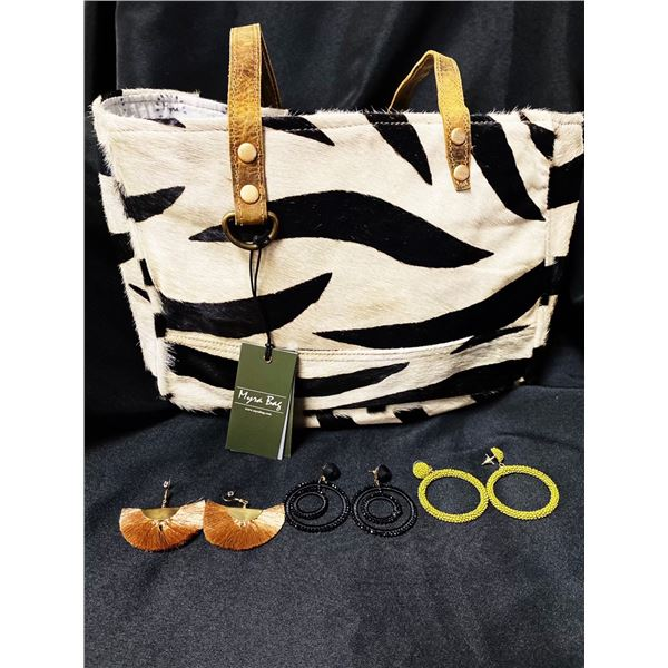Myra zebra bag and jewlery