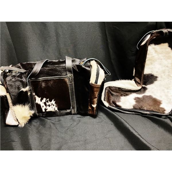 Myra black & white bag and boot bag