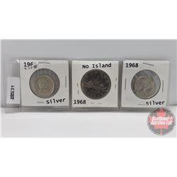 Canada Coins 1968 Silver - Strip of 3: One Dollar & Twenty Five Cent Silver (2)