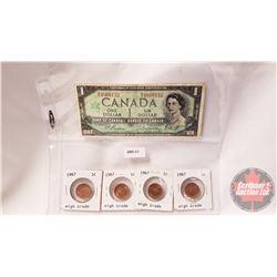 Canada 1867-1967 Centennial Group: $1 Bill (Beattie/Rasminsky MO3868152) & One Cent (4)
