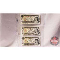 Canada $1 Bills (3 Sequential) : Crow/Bouey ECF8184992/993/994