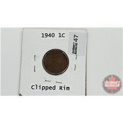 Canada One Cent 1940 (Clipped Rim)