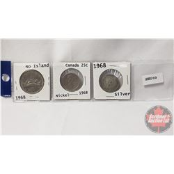 Canada Coins 1968 - Strip of 3: One Dollar (No Island) & Twenty Five Cent (Silver) & Twenty Five Cen