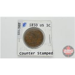 "US One Cent 1850 ""Counter Stamped"""