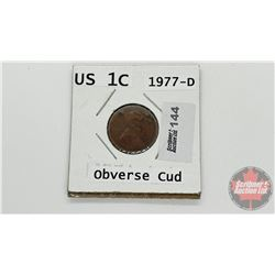 "US One Cent 1977D ""Obverse Cud"""