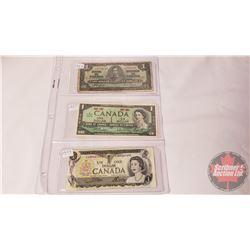 Canada $1 Bills (3): 1937 Coyne/Towers S/N#JN2074748 ; 1967 Beattie/Rasminsky No S/N ; 1973 Crow/Bou