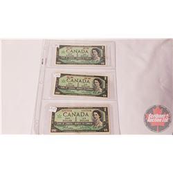 Canada $1 Bills (3): 1967 Beattie/Rasminsky No S/N ; 1967 Beattie/Rasminsky No S/N ; 1967 Beattie/Ra
