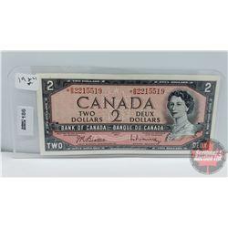 Canada $2 Bill 1954 *Replacement : Beattie/Rasminsky S/N#*BM2215519