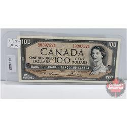 Canada $100 Bill 1954 : Lawson/Bouey S/N#BJ9397524