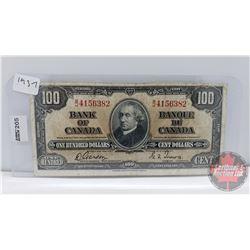 Bank of Canada $100 Bill 1937 : Gordon/Towers BJ4156382