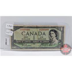 Canada $1 Bill 1954DF : Beattie/Coyne KA9206480