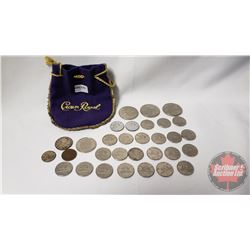 Canada Coins in Pouch - Variety : One Dollar 1970; 1970; 1970 & Fifty Cent 2002 & Twenty Five Cent 1