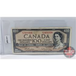 Canada $100 Bill 1954 : Beattie/Rasminsky BJ2401938