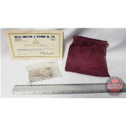 Silver Bar : Delta Smelting & Refining Co. Ltd. : Certificate of Assay 10.000 Troy Ozs