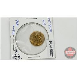 US 1914 Indian Head 2-1/2 Dollars Gold Coin (Note: Initials Engraved)