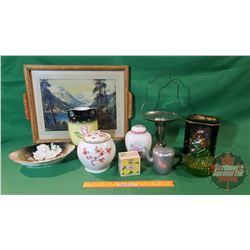 """Service Tray with Variety of Vases, Bavaria Dish, Swan Glass Basket, etc (Tray 19"""" x 15"""")"""
