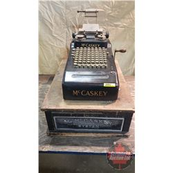 "The McCaskey System (Cash Register) (Base 15"" x 22"" x 6-1/2""T) (Machine 9"" x 17"" x 6"" (not including"