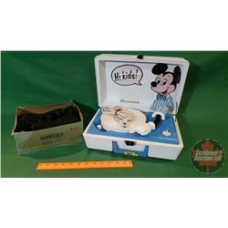 """Mickey Mouse """"Sears"""" Portage Children's Record Player (Velcro Fastener on front) & Pair of Children'"""