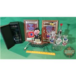 """For the Bar Grouping! 2 Wall Mirrors """"Labatt's"""" & """"Molson Export"""", Shot Glass Service & """"The Bar is"""