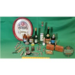 Tray Lot - Bar Collector Combo: Bohemian Oval Tray, Variety Bottles, Lighters, Openers, etc