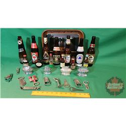 Tray Lot - Bar Collector Combo: Coca Cola Tray, Variety Bottles, Desk Top Lighters, Openers, etc